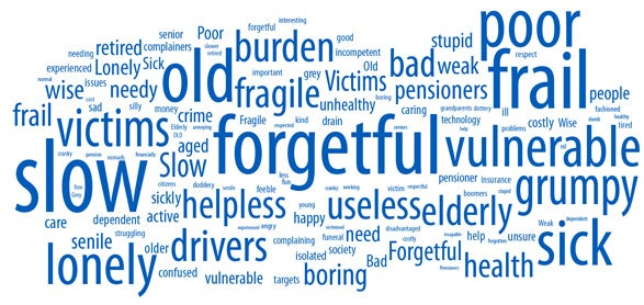 Top words include forgetful, poor, frail, slow, old