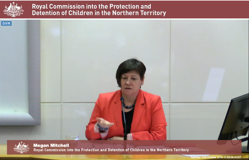 Screenshot of Megan Mitchell from the Royal Commission in NT detention broadcast