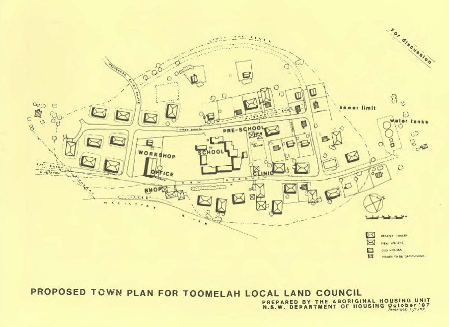 Map of proposed Toomelah Town Plan 1987