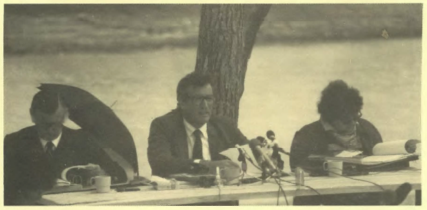 Commission President Justice Marcus Einfeld, Sir James Killen and Kaye Mundine