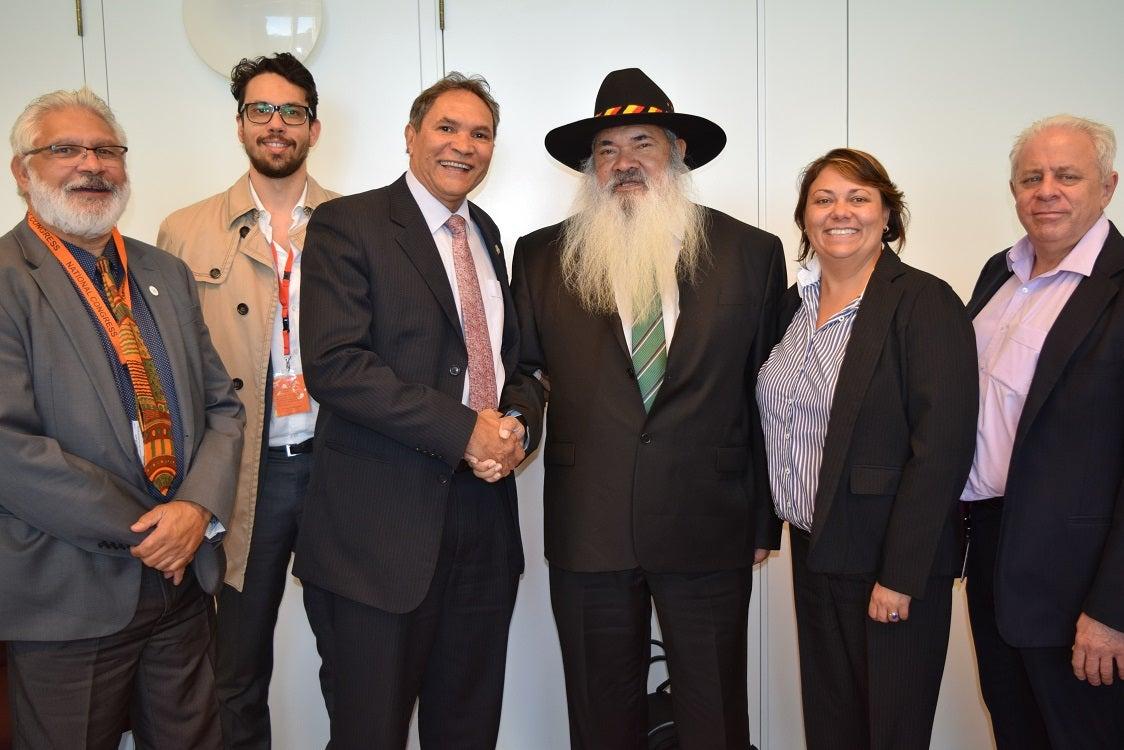 From left to right: Gerry from SNAICC, Drey (andreas) from congress, Rod Little (congress) Patrick Dodson, Tamara Giles (congress) Geoff Scott (congress)