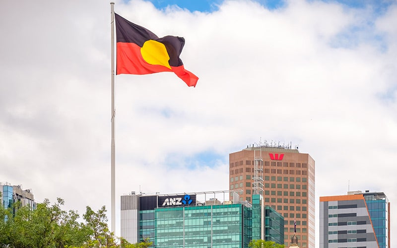 Aboriginal flag flying in city