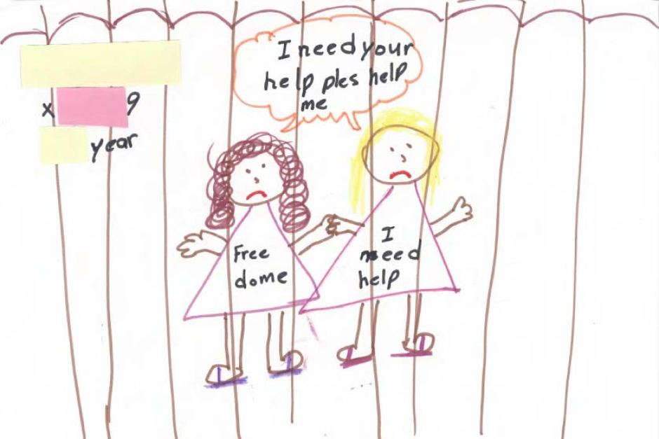 Drawing by child in immigration detention