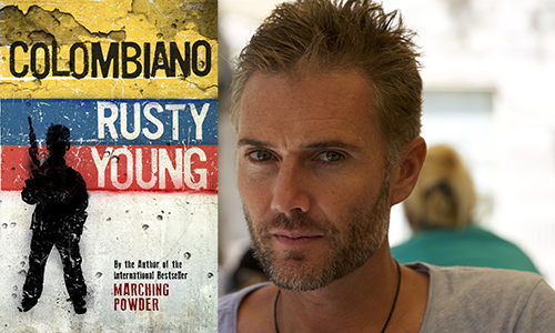 Rusty Young and cover of book Columbiano