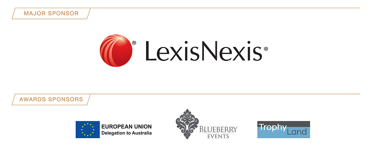 Major Sponsor LexisNexis - Awards Sponsors Delegation of the European Union to Australia, Blueberry Events and Trophy Land