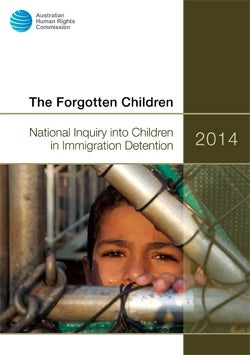 Cover - the Forgotten Children. Child behind bars in immigration detention