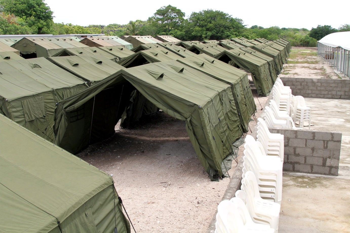Top view showing rows of tents & 12 Children in detention on Nauru | Australian Human Rights Commission