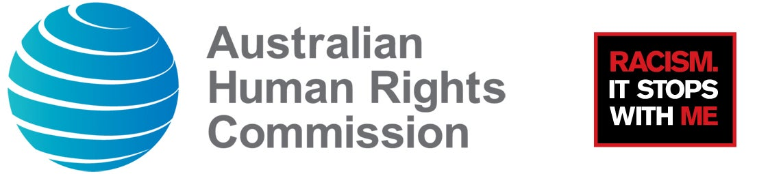 AHRC and Racism. It Stops With Me logos