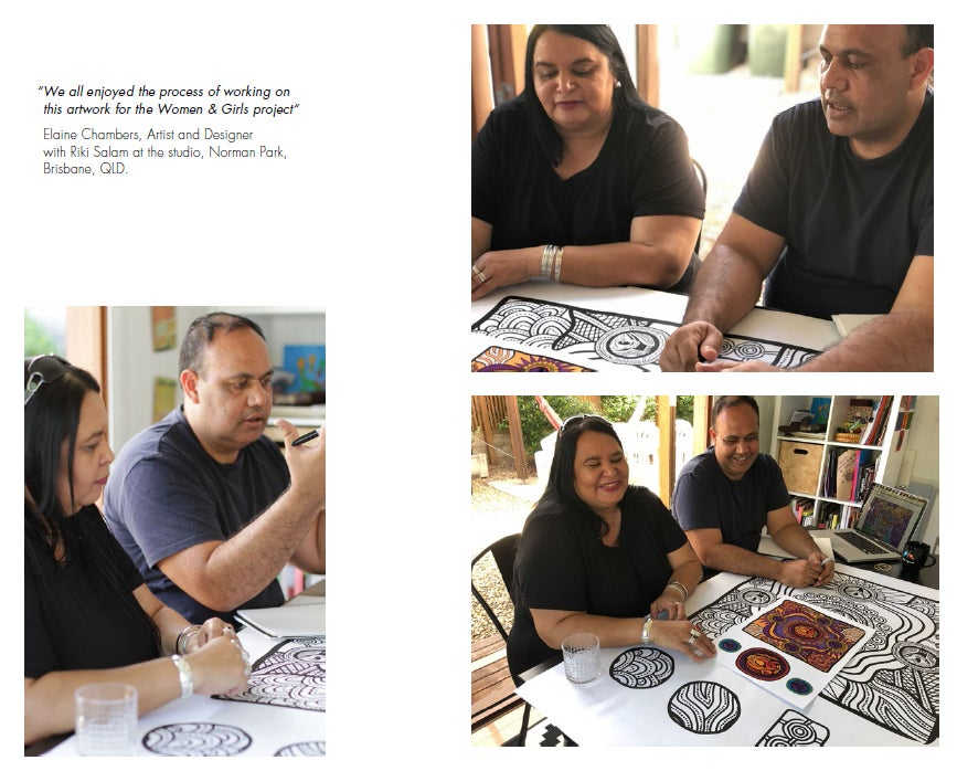 """We all enjoyed the process of working on this artwork for the Women & Girls project"" Elaine Chambers, Artist and Designer with Riki Salam at the studio, Norman Park, Brisbane, QLD."