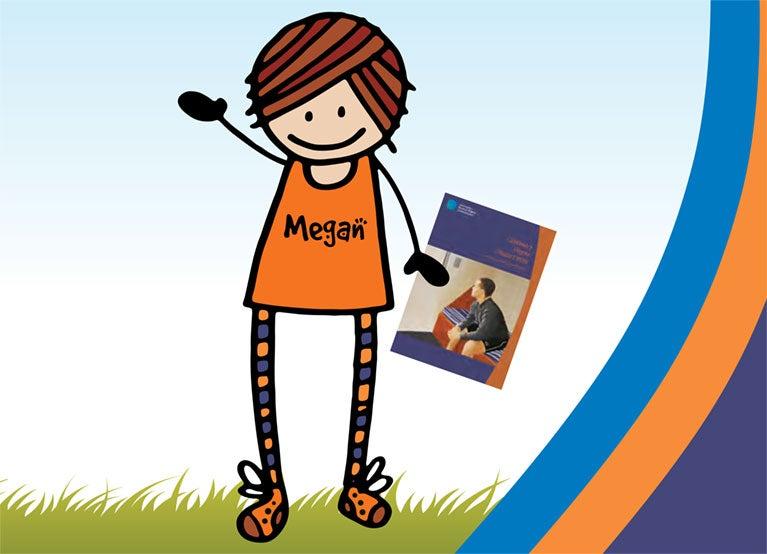Cartoon of Megan waving hi