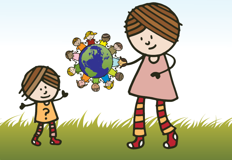 cartoon of children linked around the earth