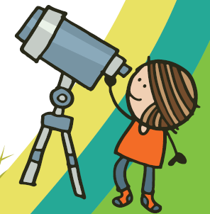 cartoon - child looking in telescope