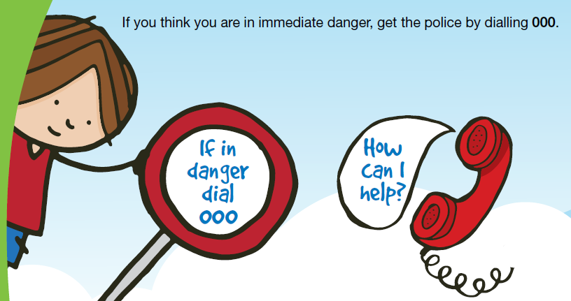 cartoon - If in danger, call 000