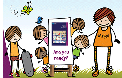 Cartoon of children and Megan holding a sign 'Are you ready?'