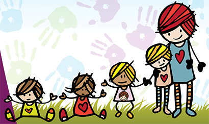 Cartoon of Megan and kids playing on grass