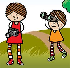 Cartoon image of kids with camera and binoculars