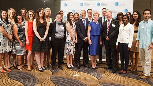 Gillian Triggs with 2015 Human Rights Awards finalists