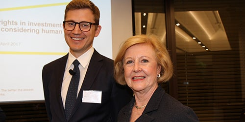 Adam Carrell from EY with Prof. Gillian Triggs