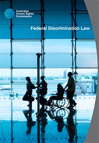 Cover of Federal Discrimination Law 2016 - person in wheelchair travelling through an airport
