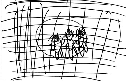 Child drawing - my dad, me and mum behind the fence at Nauru