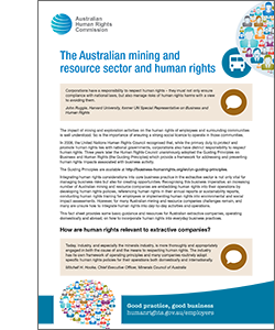 The Australian mining and resource sector and human rights