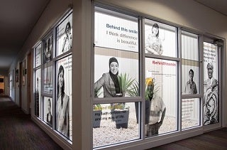 Hobsons Bay window with quotes
