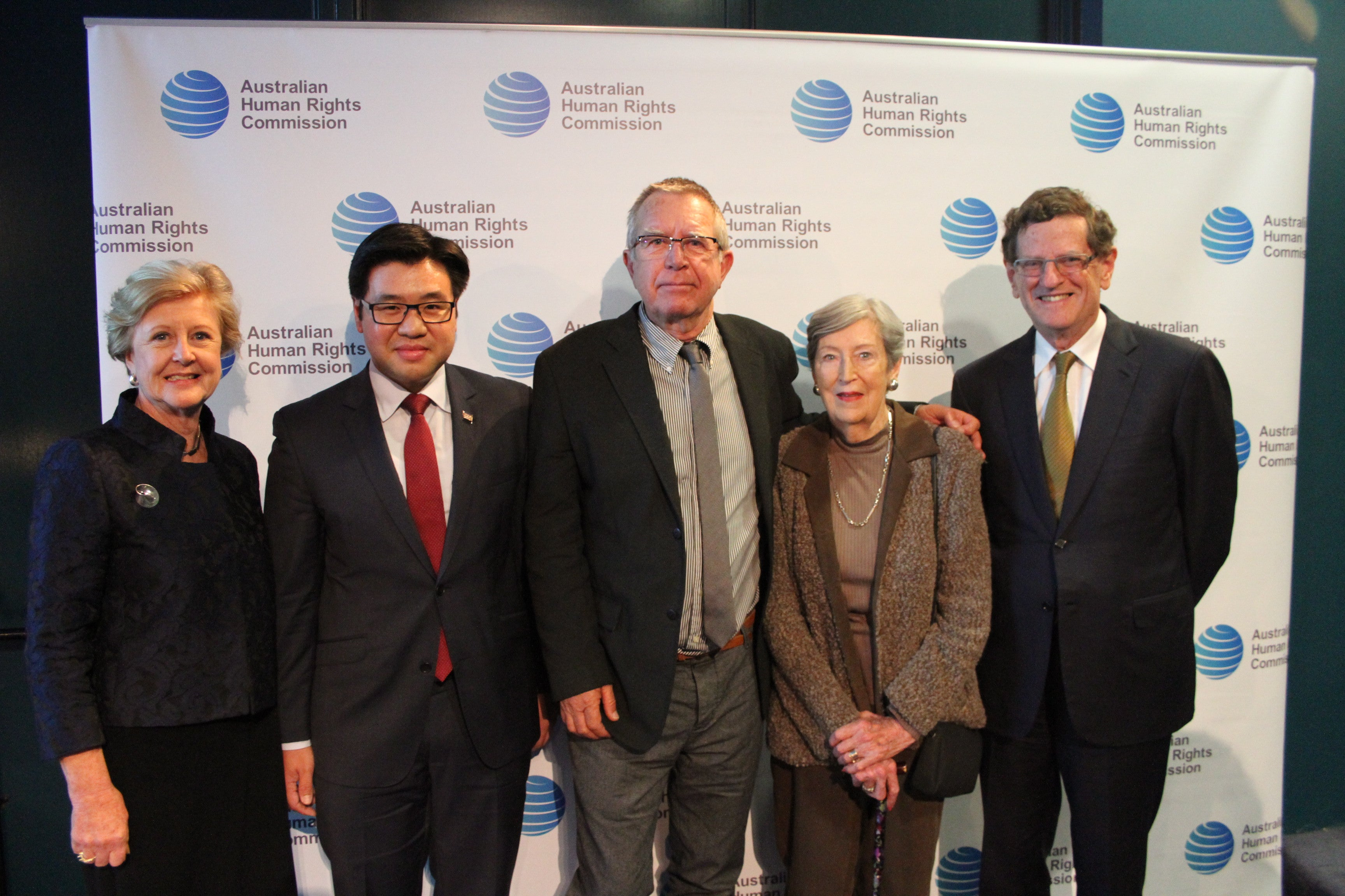 AHRC President Gillian Triggs, Race Discrimination Commissioner Tim Soutphommasane, Keir Enderby, Dorothy Enderby and Chief Justice Robert French