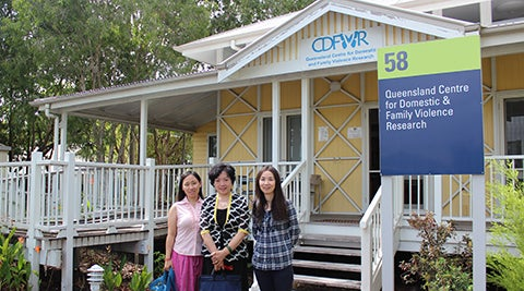 International delegates outside Qld Centre for Domestic and Family Violence Research