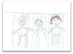 Drawing of family behind bars by child in detention