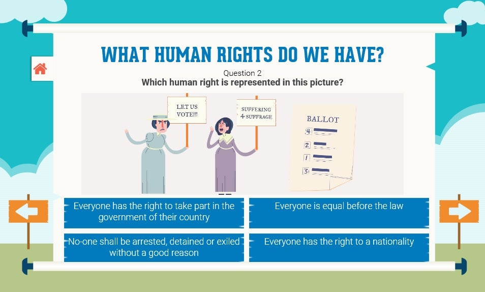 A screenshot: What human rights do we have?