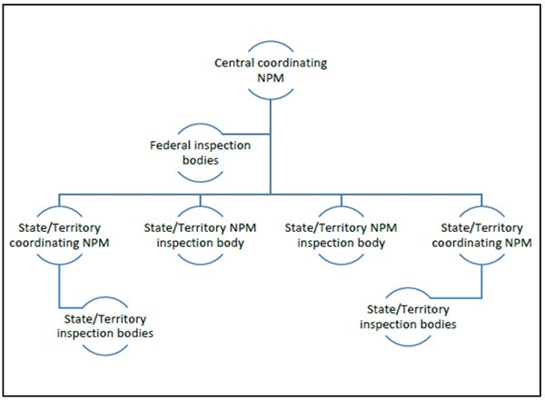 Tree Diagram of Central coordinating NPM above a Federal Inspection Bodies lowest level are NPM are State or Territory coordinating NPM and Inspection Bodies
