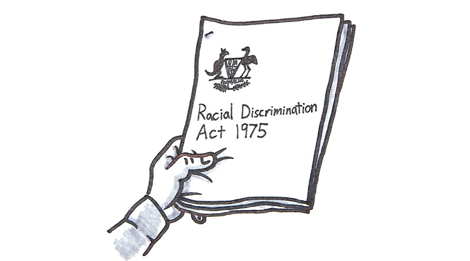 Cartoon of a hand holding the RDA Act 1975