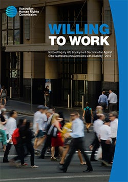 Willing to Work Report (2016) - cover image - people in street around workplaces