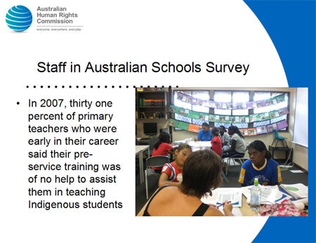 Staff in Australian Schools Survey. In 2007, thirty one percent of primary teachers who were early in their career said their pre-service training was of no help to assist them in teaching Indigenous students.