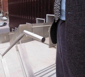 Dangerous handrail end: ouch!