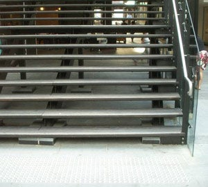 Open risers on stairs