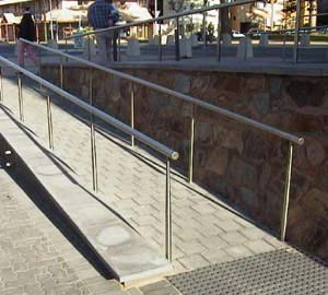 Noncompliant handrails with no returns on ends