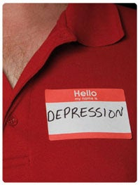 A man with a name tag 'Hello my name is depression' written on it