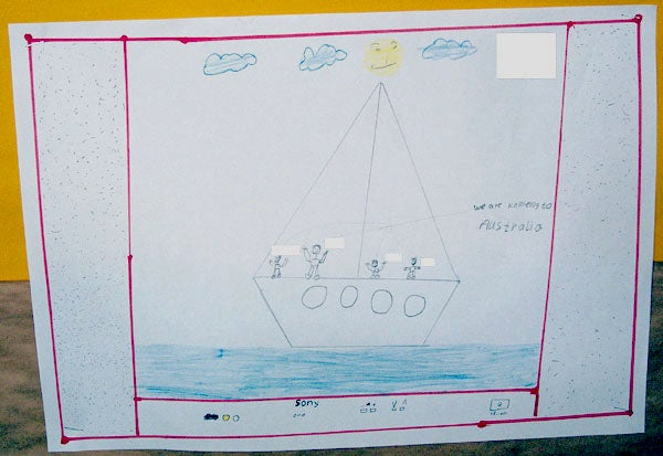 Drawing of a boat of children seeking asylum in Australia, by a child in immigration detention.