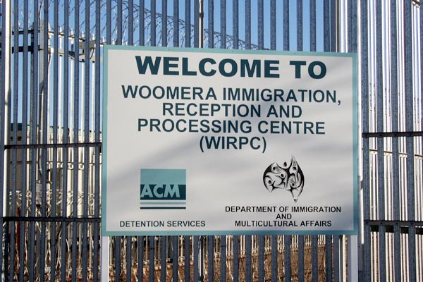Sign outside Woomera indicating ACM and the Department, June 2002.