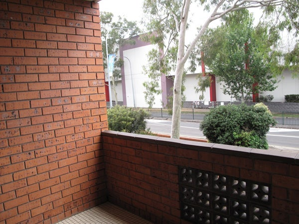 View from balcony, flat occupied by family in community detention.