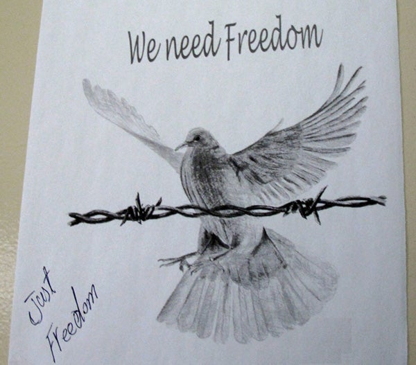 Artwork on the bedroom door of a man in detention, Maribyrnong Immigration Detention Centre.