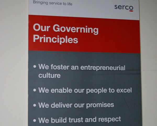 Serco poster, Maribyrnong Immigration Detention Centre.