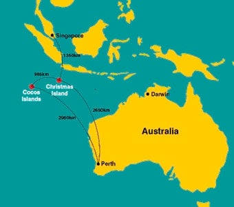 Map of Australia with the location of Christmas Island and Cocos Island