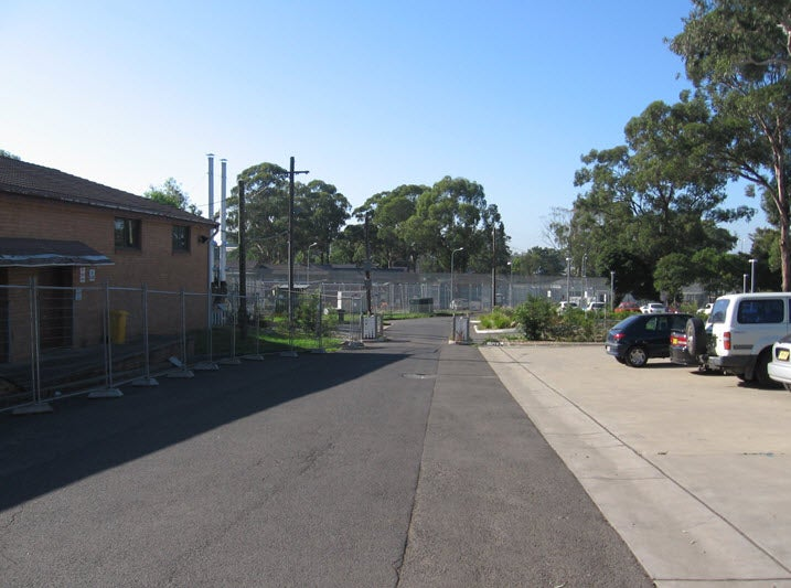 View of Villawood IDC fences from Sydney IRH entrance