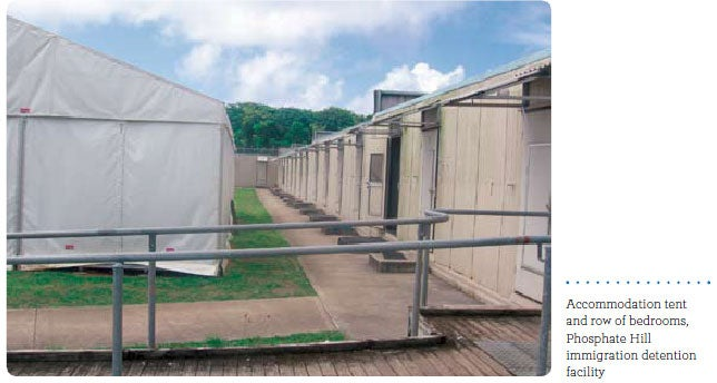 Accommodation tent and row of bedrooms, Phosphate Hill immigration detention facility