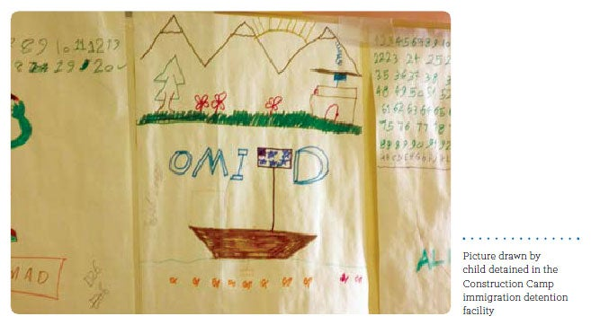 Picture drawn by child detained in the Construction Camp immigration detention facility