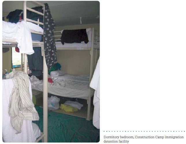 Dormitory bedroom, Construction Camp immigration detention facility
