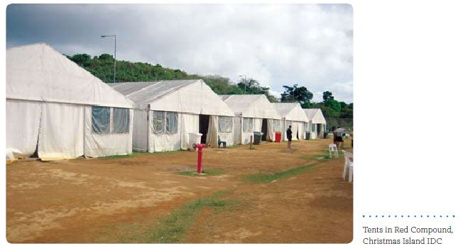 Tents in Red Compound, Christmas Island IDC
