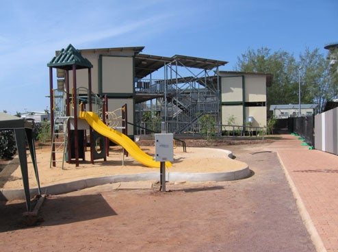 Children's playground and accommodation block, Airport Lodge